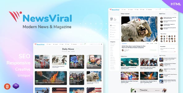 Download Newsviral - Modern News & Magazine HTML Template