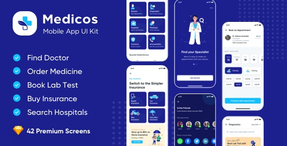 Medicos - Healthcare Mobile Sketch App UI Kit - Health & Beauty Retail