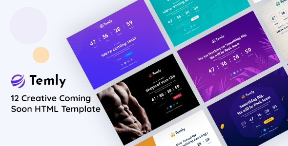 Temly | Creative Coming Soon HTML Template - Under Construction Specialty Pages