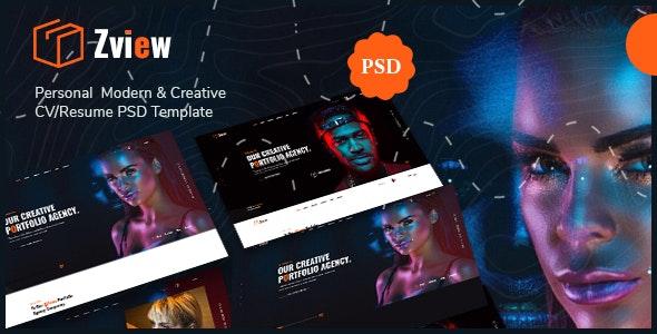 Zview - Personal Modern & Creative CV/Resume PSD Template - Personal Figma