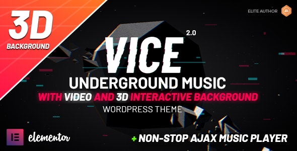 Vice: Underground Music Elementor WordPress Theme - Music and Bands Entertainment