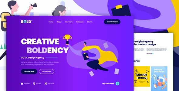 BOLDENCY - HTML Landing Page Template for Design Agency and Portfolio Showcase - Corporate Landing Pages