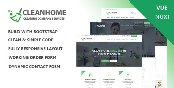 Cleanhome – Cleaning Services Vue Nuxt Template - Retail Site Templates