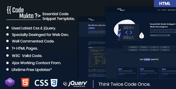 Download Code Mukto - Essential Code Snippet HTML5 Template.