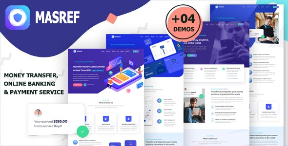 Masref - Online Banking & Payment Template - Technology Site Templates