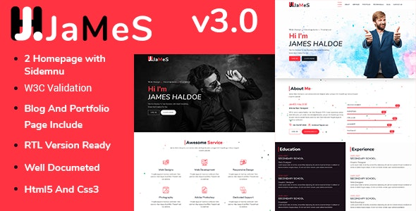 James - Personal Portfolio HTML5 Template - Personal Site Templates