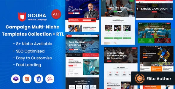 Gouba - Campaign Multi-Niche Templates Collection - Nonprofit Site Templates