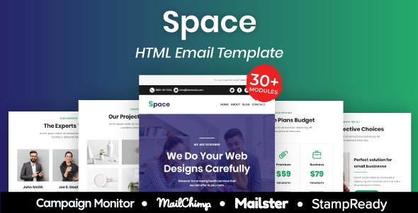 Space - Multipurpose Responsive Email Template 20+ Modules Mailchimp - Newsletters Email Templates