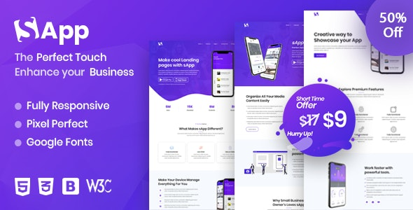 SaaS - App Landing Page - Technology Site Templates