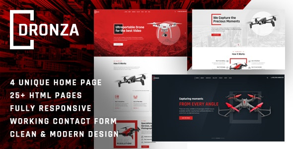 Dronza | Drone Aerial Photography HTML5 Template - Technology Site Templates