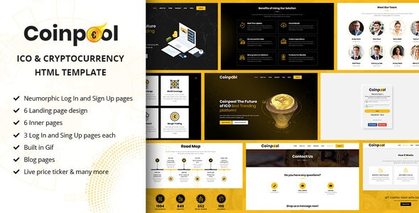 Coinpool - ICO, Bitcoin And Crypto Currency HTML Template - Site Templates