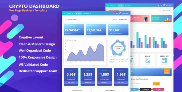 Download TokenMe - ICO Admin & Crypto Dashboard Template