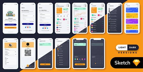 Finance MobileApp Template UI Kit (Light & Dark) - Business Corporate
