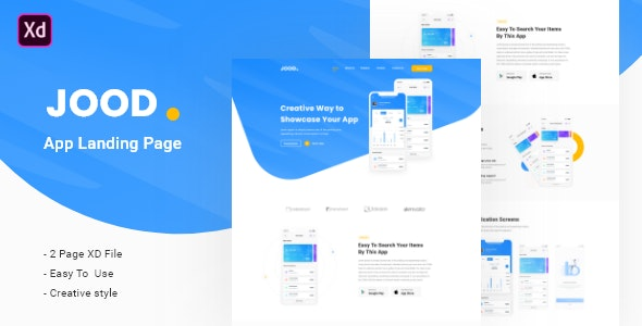 JOOD - App Landing Page Template - Technology Adobe XD