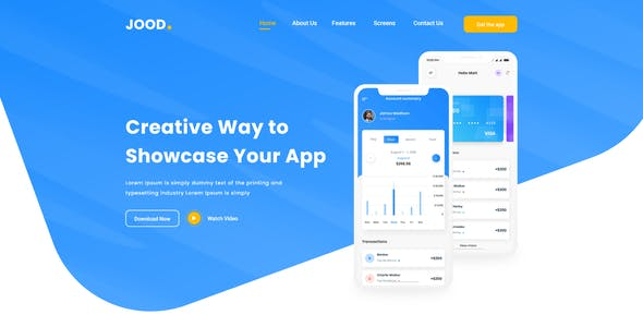 JOOD - App Landing Page Template