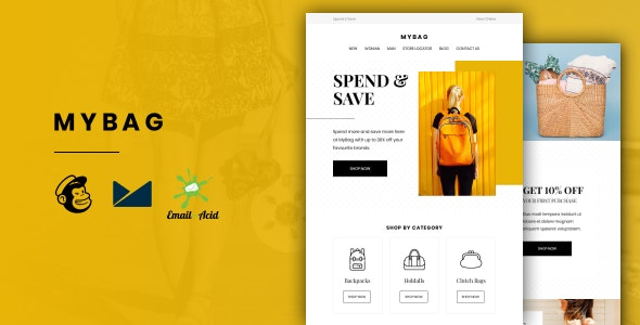 MyBag - E-commerce Responsive Email for Fashion & Accessories with Online Builder - Newsletters Email Templates