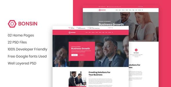 Bonsin -  Business Website PSD Template - Business Corporate