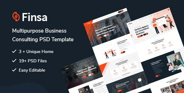 Finsa - Consulting & Agency PSD Template - Corporate Photoshop
