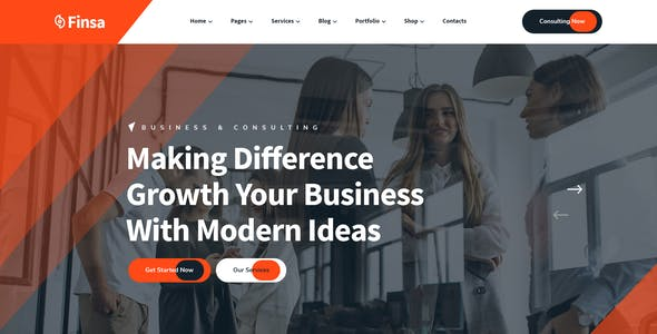 Finsa - Consultancy, Finance & Business PSD Template