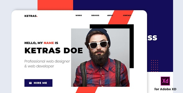 Ketras - Personal Portfolio Template for Adobe XD - Personal Adobe XD