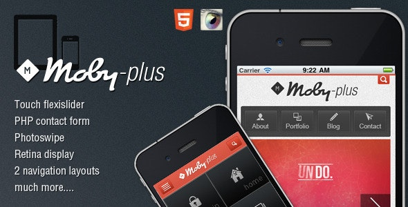 Moby-Plus Mobile and Tablet HTML5 Template - Mobile Site Templates