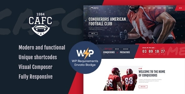 Conquerors | American Football & NFL WordPress Theme - Entertainment WordPress