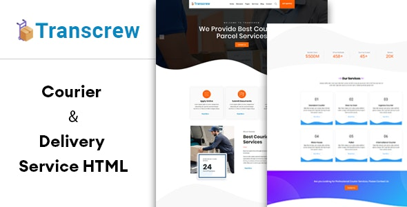 Transcrew   Courier & Delivery Service HTML Template - Business Corporate
