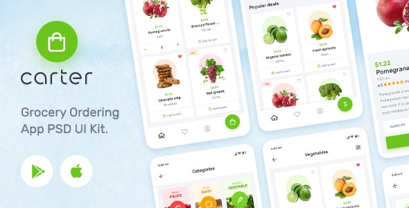 Carter – Grocery Application PSD Mobile UI Kit - Shopping Retail