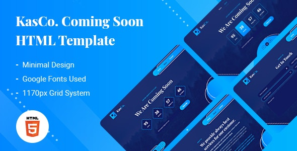 KasCo - Creative Coming Soon HTML5 Template - Under Construction Specialty Pages