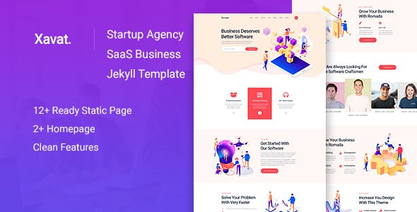Download Xavat - Startup Agency and SaaS Business Jekyll Template