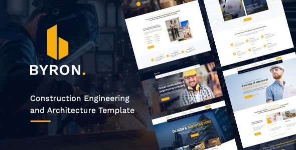 Byron - Creative Construction Engineering and Architecture PSD Template - Creative Photoshop