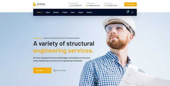 Byron - Creative Construction Engineering and Architecture PSD Template