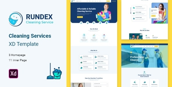 Rundex - Cleaning Company XD Template - Corporate Adobe XD
