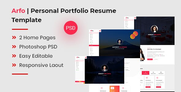 Arfo | Personal Portfolio Resume Template