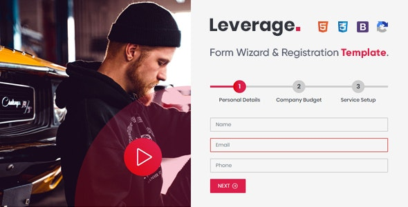 Leverage - Form Wizard & Registration Form Template - Specialty Pages Site Templates