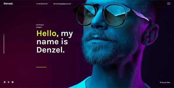 Denzel. - Onepage Personal HTML Template - Virtual Business Card Personal