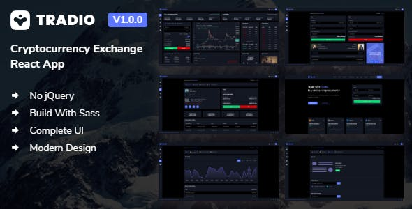 Download Tradio - Cryptocurrency Exchange React App Dashboard + Landing Page