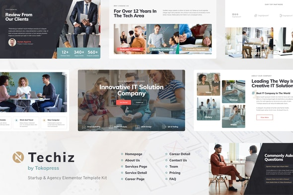 Techiz | Business & Startup Elementor Template Kit - Business & Services Elementor