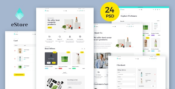 eStore - Creative E-shop PSD Template - Retail Photoshop