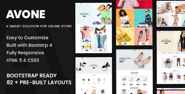 Avone Multipurpose eCommerce Bootstrap 4 HTML Template - Fashion Retail