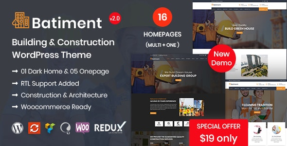 Batiment - Construction & Building  WordPress Theme - Business Corporate