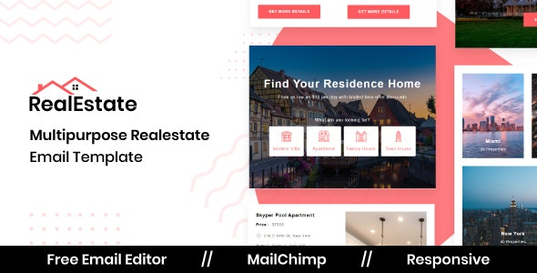 Real Estate - Responsive Email Template For Real Estate Property With Free Email Editor - Newsletters Email Templates