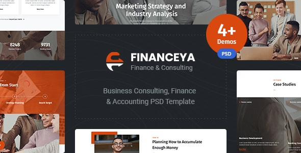 Financeya - Consulting, Finance & Accounting PSD  Template - Business Corporate
