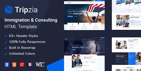 Tripzia – Immigration and Visa Consulting HTML Template - Business Corporate