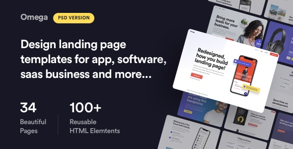 Omega - Landing Page Design Templates for SaaS, Startup & Agency - Technology Photoshop