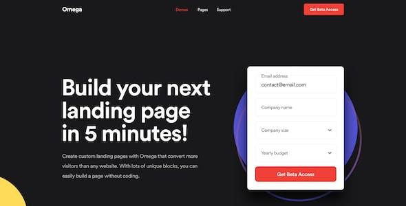Omega - Landing Page Design Templates for SaaS, Startup & Agency