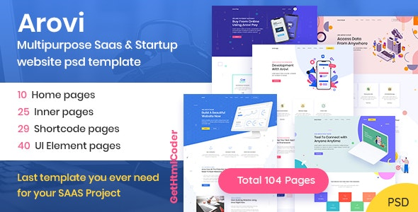 Arovi - Saas & Startup Agency PSD Template - Corporate Photoshop