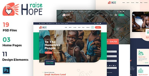 RaiseHope - Charity and Donation PSD Template