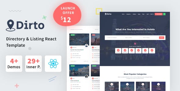 Download Dirto - Classified Directory & Listing React Template