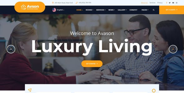 Avson - Hotel & Room Booking ReactJs Template
